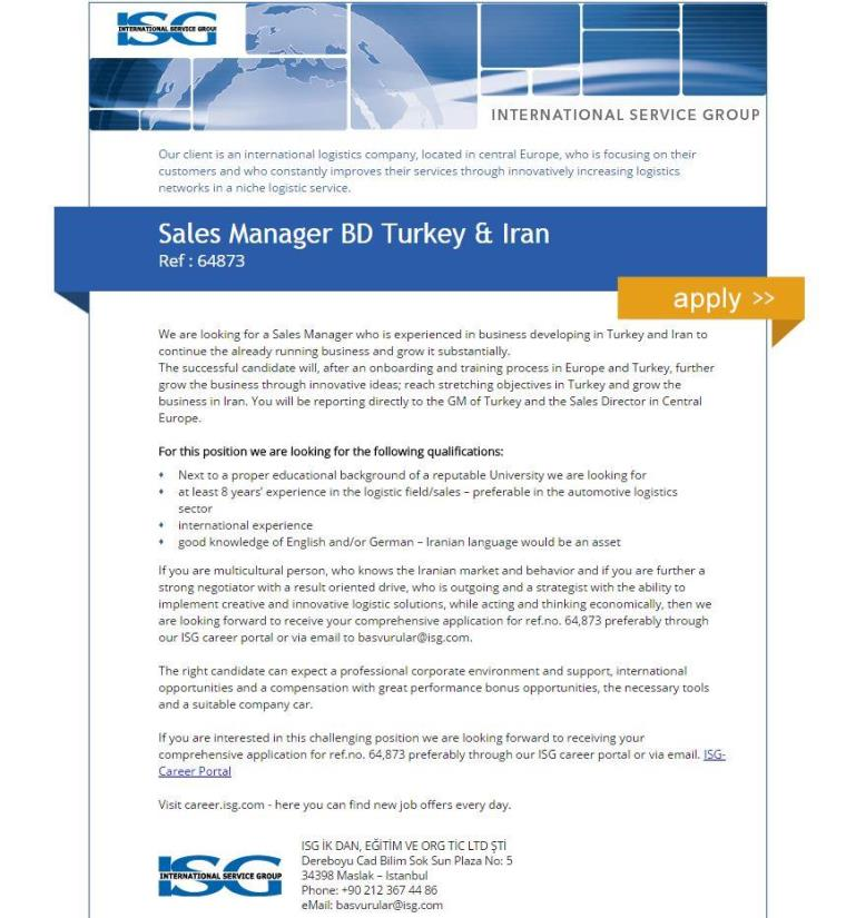 ISG Personalmanagement GmbH Sales Manager BD Turkey & Iran İş İlanı